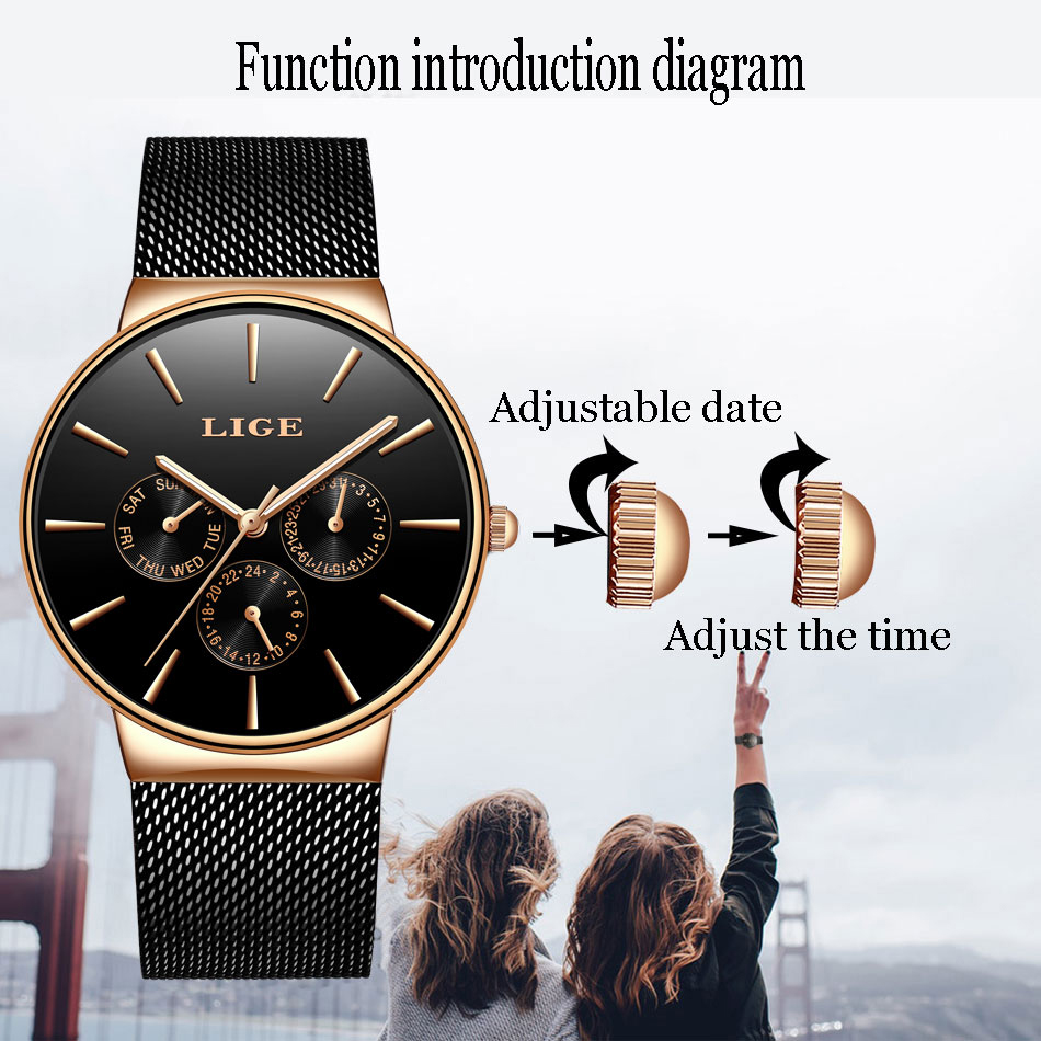 Image 5 - LIGE Women Watches Top Luxury Brand Ladies Fashion Simple Quartz Female Waterproof Watch Lady Casual Clock Relogio Feminino+BoxWomens Watches   -