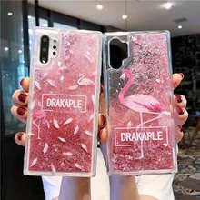 Cartoon Flamingo Glitter Dynamic Liquid Quicksand Soft Case For Samsung Galaxy Note 10 Pro Cover back