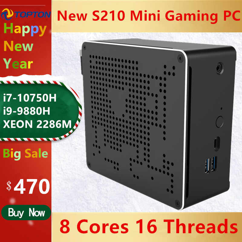 Topton Gaming Mini PC i9 10th Geração i7 10750H 9880H 6 Core i5 2 Lan Windows 10 2 * DDR4 2 * NVME AC Wi-fi Computador Desktop 4K DP HDMI