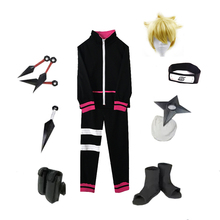 цены Brdwn Boruto unisex Konoha Uzumaki Boruto Cosplay Costume (top+pants+Headband+Shoes+Kunai+bag+shuriken)