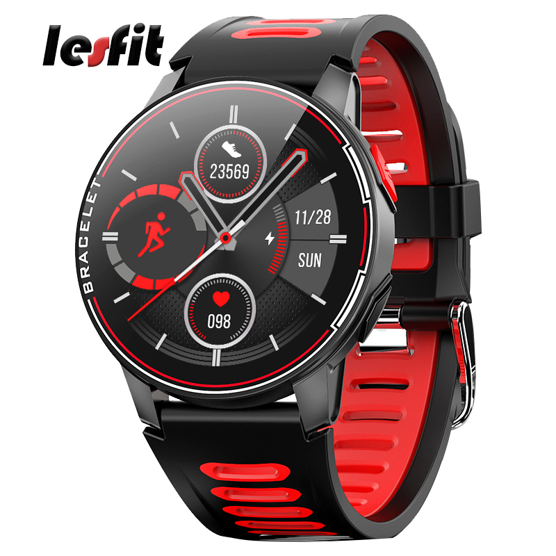 Lesfit Round Full Touch Men Smart Sport Watch Women Bluetooth Waterproof Smartwatch Android Heart Rate Activity Fitness Tracker