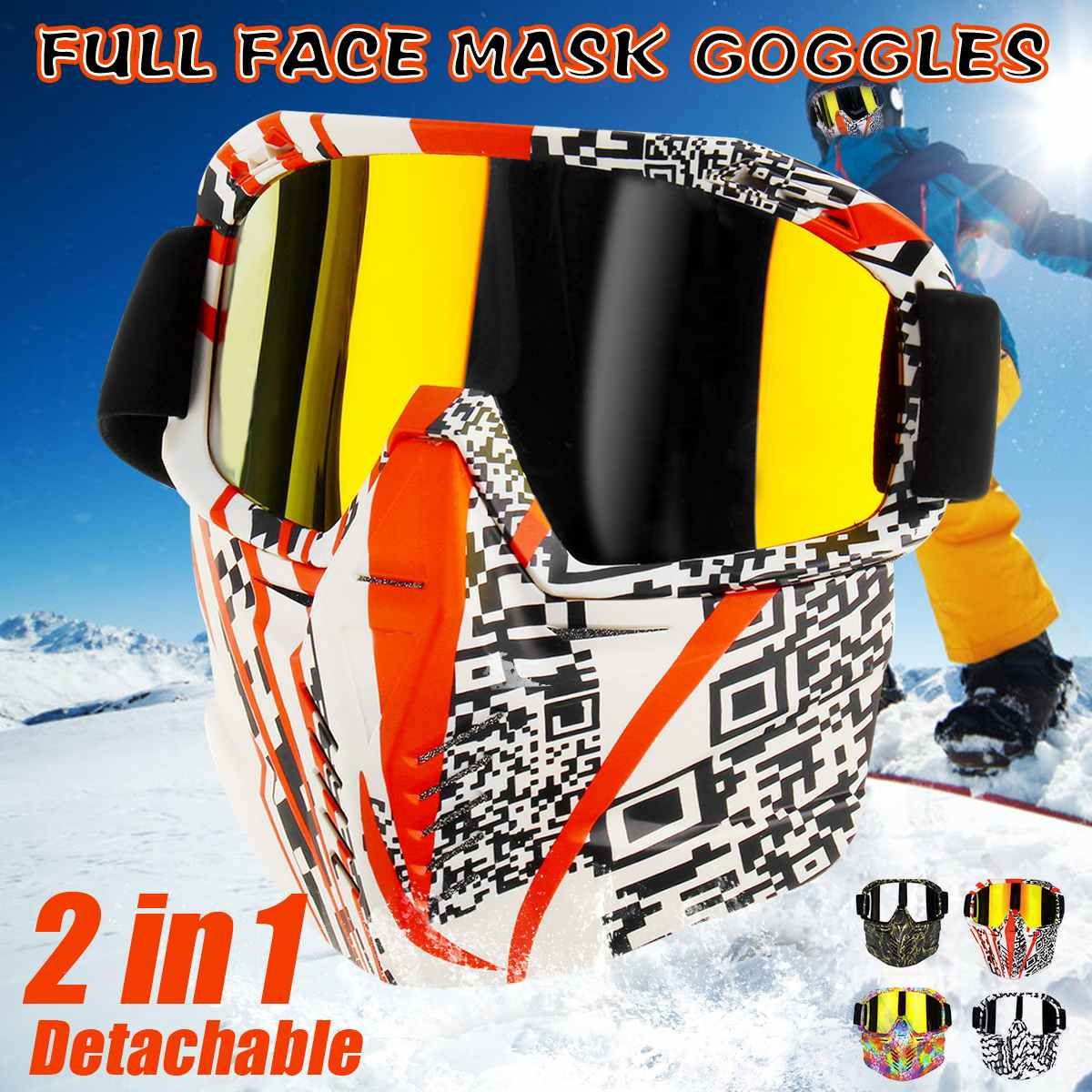 Men Women Riding Ski Snowboard Snowmobile Eyewear Mask Snow Winter Skiing Anti-UV Glasses Motocross Sunglasses Detachable