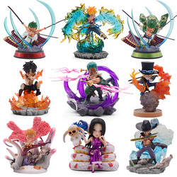 One Piece Figure Monkey·D·Luffy Roronoa Zoro Ace GK Fashion Scenes Q Ver. PVC Action Figurine Collectible Model Dolls Toy gifts