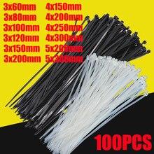 Gravata de cabo de nylon autobloqueada, 100 peças, preta, 5x3004x200, com zíper, cabo de nylon conjunto de gravata,