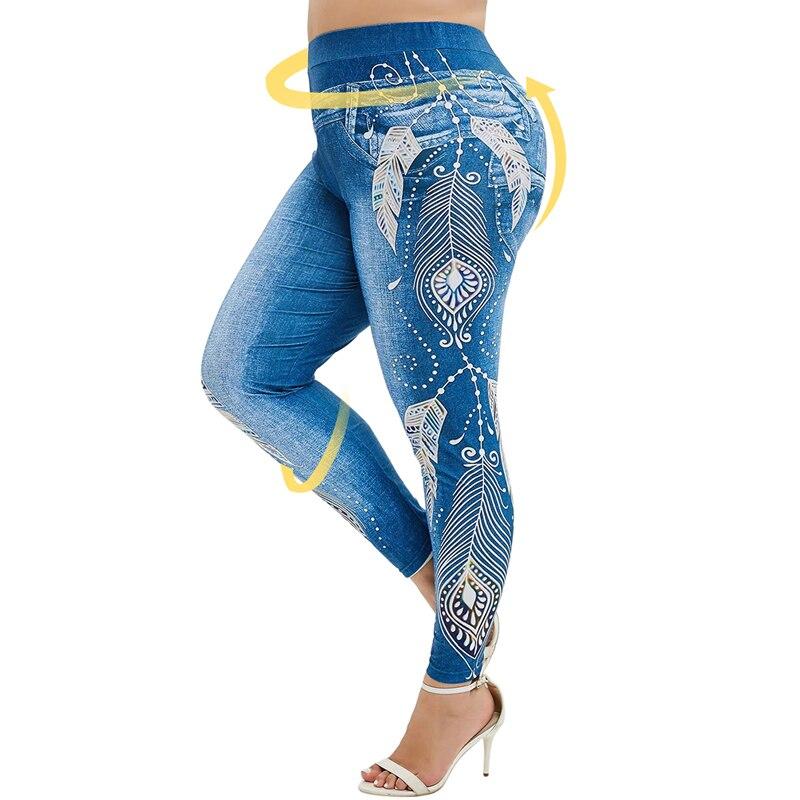 2020 Women Plus Size High Stertch Jeans Print Leggings Summer Trousers Straight Capri Casual Workout Yoga Pants