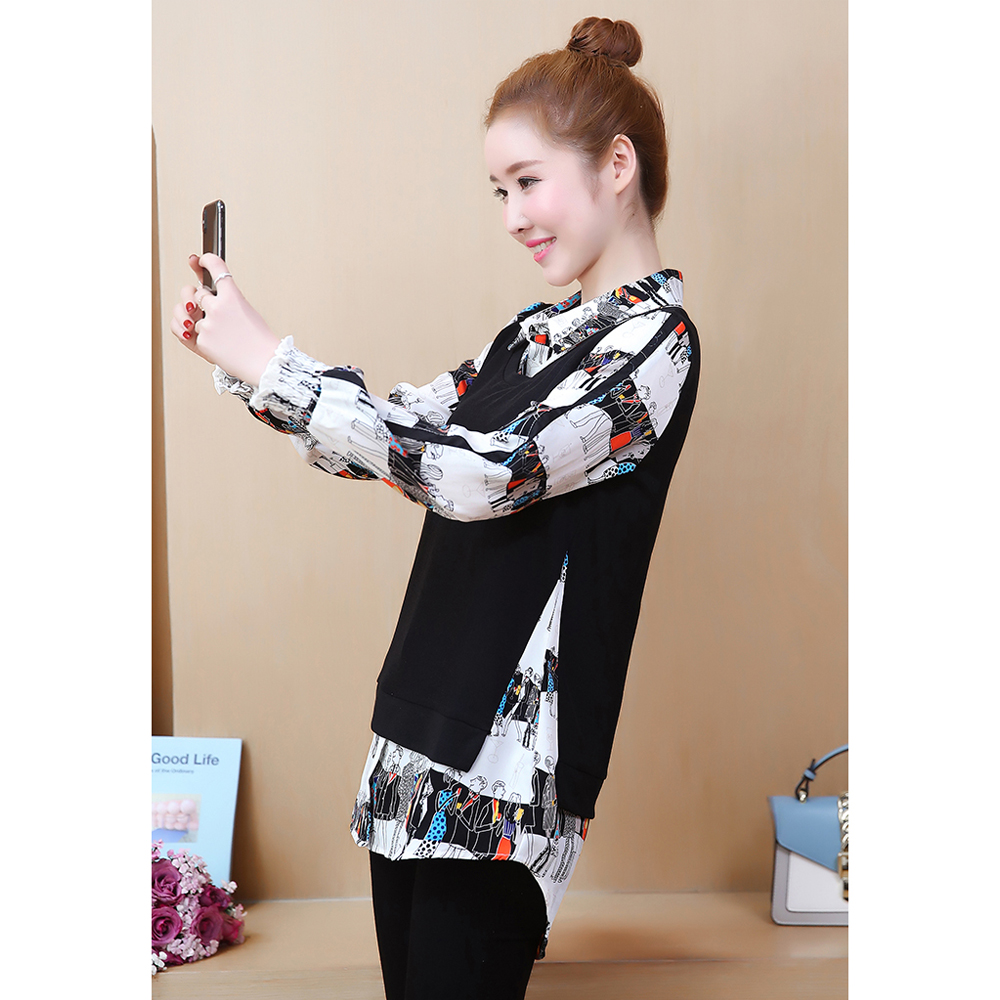 Spring and autumn new style Fashion temperament stitching printed top large size XL 5XL women 39 s clothing in Blouses amp Shirts from Women 39 s Clothing