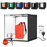 PULUZ 60 x 60cm 24inch photo studio box portable LED folding Photography Softbox 60W White Lighting lightbox with 6 Backgrounds