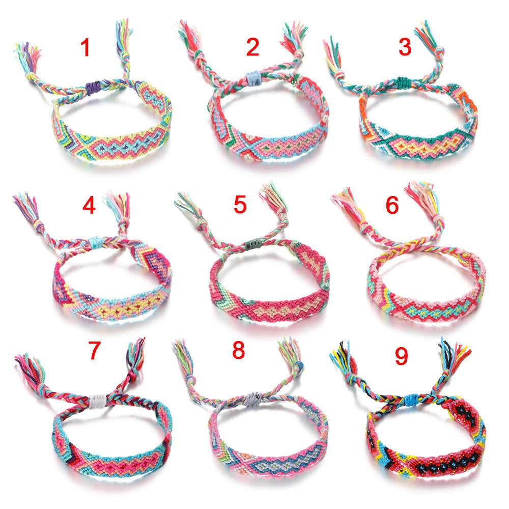 Bawełna Handmade Charm bransoletki i bransolety biżuteria etniczna prezenty nowy czechy styl splot liny bransoletki przyjaźni dla kobiety mężczyźni
