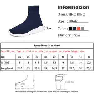 Image 5 - Chunky Sneakers wulkanizowane kobiety płaskie Stretch Knittin futro skarpety buty Plus Size mężczyźni panie krótkie buty platformy kobiece buty