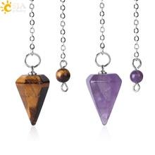 CSJA Малый размер Рейки Исцеление Маятники натуральные камни подвеска, амулет Кристалл медитация шестиугольный маятник для мужчин женщин F366
