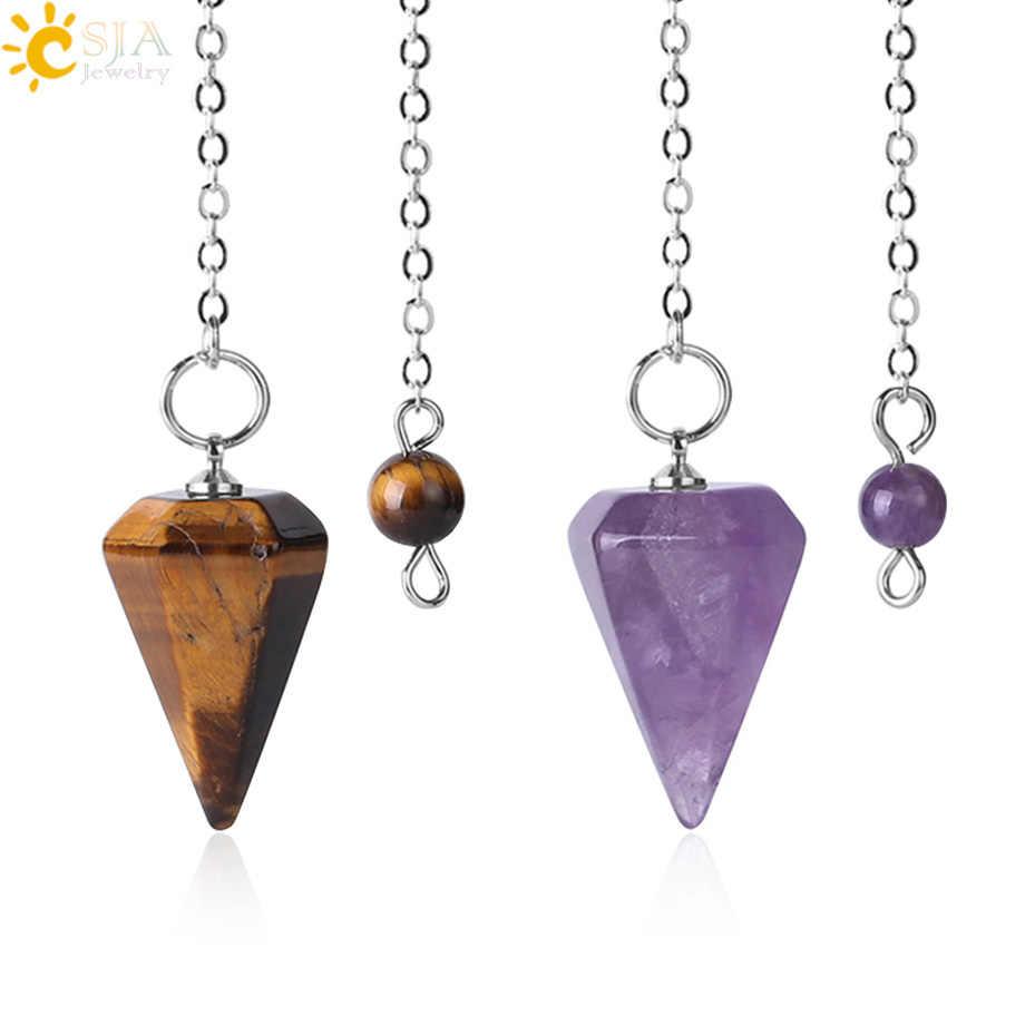 CSJA ขนาดเล็ก Reiki Healing ลูกตุ้มหินธรรมชาติจี้ Amulet คริสตัลสมาธิลูกตุ้ม Hexagonal สำหรับผู้ชายผู้หญิง F366