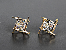 Jewelry New Square Zircon Earrings Tic Tac Stud Korean Pearl