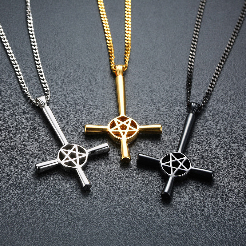 ZORCVENS 2020 New Inverted Cross Pentagram Star Pendant Necklace for Men Stainless Steel Lucifer Satan Male Jewelry