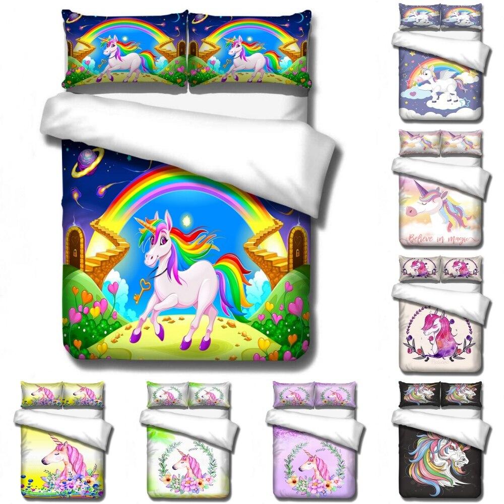 Disney Cartoon Blue Sky Unicorn Rainbow Bridge Bedding Set Baby Kids Boys Girls Bedroom Decoration Duvet Covers Pillowcase