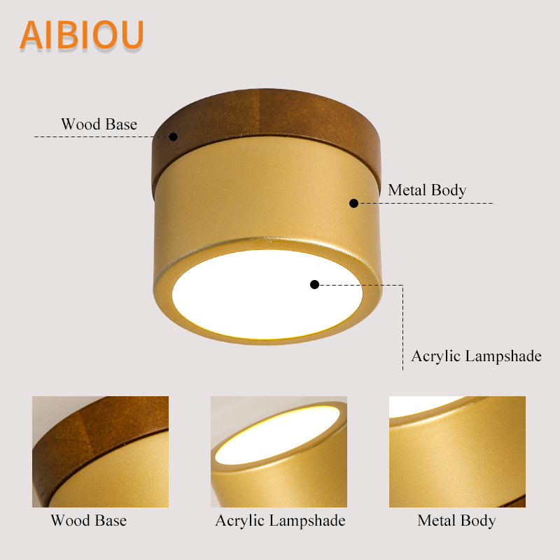 AIBIOU Round LED Ceiling Lights Modern Ceiling Lamp For Bedroom Wooden Corridor Lighting Fixture Surface Mounted Kitchen Light in Ceiling Lights from Lights Lighting