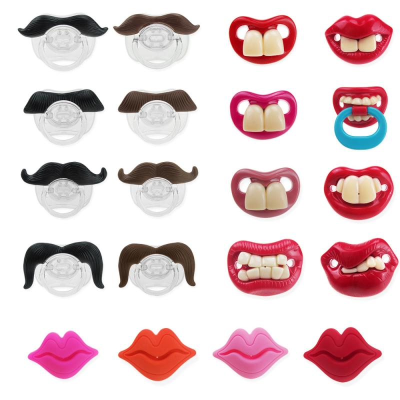 Fashion Cute Baby Gel Nipple For Baby Gifts New Baby Pacifier Beard Teeth Red Lip Silicone Nipple Infant Appease Nipple Accesory