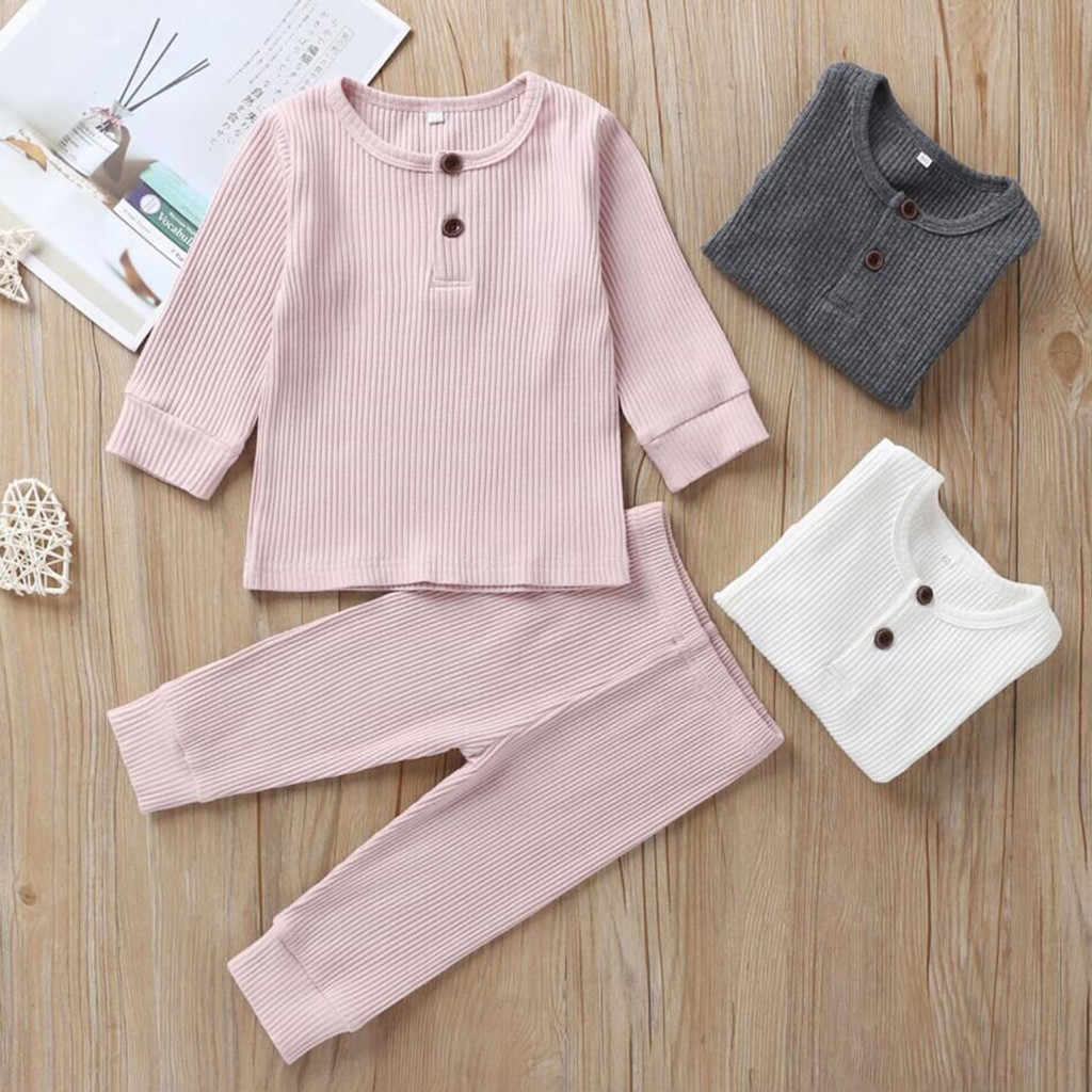 Muqgew Toddler Baby Clothes Suit Long Sleeve Solid Tops+pants Pajamas Sleepwear Outfits Baby Boys Girls Wy6