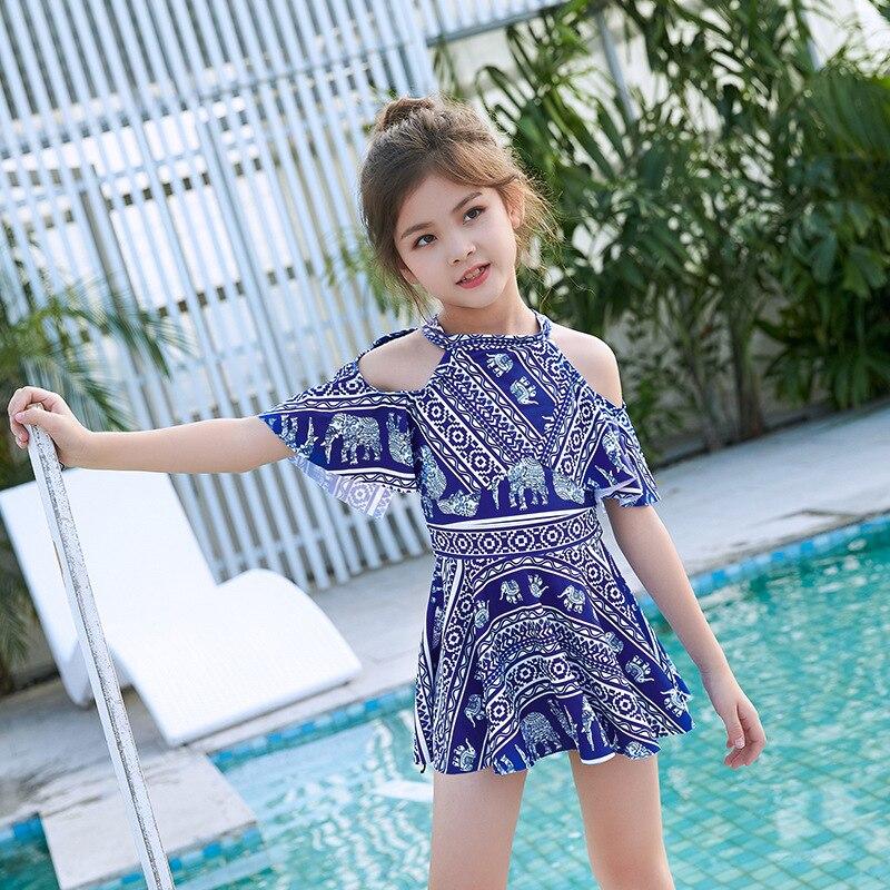 2019 New Style KID'S Swimwear Split Skirt-Girls Big Boy Swimwear