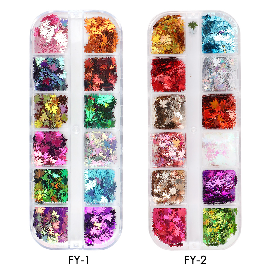 Fall Nails Glitter Flakes Sequins Maple Leaf Dazzling Mirror Sheet Sticker for Manicure Nail Decor Paillette (7)