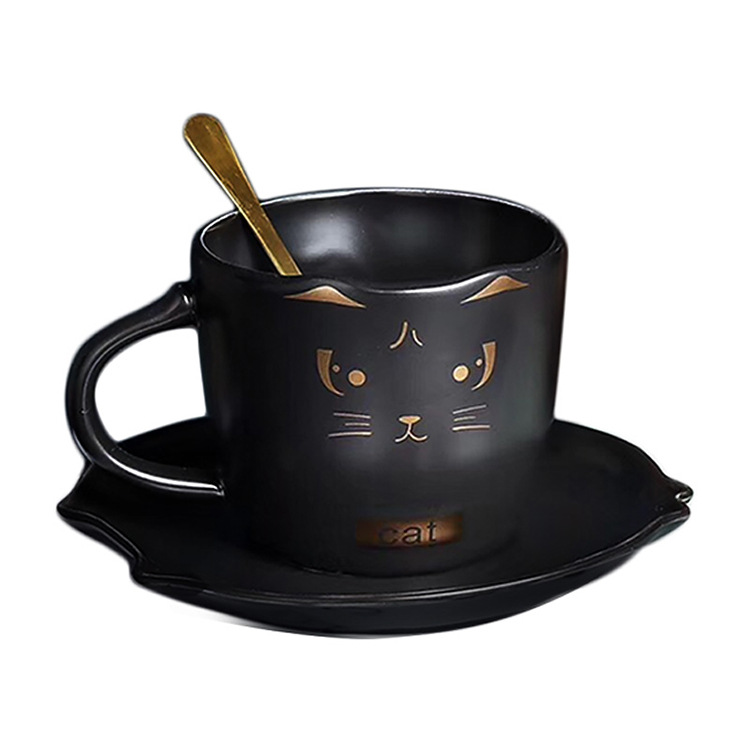 Edo Coffee Cup European Style Small Luxury Elegant Simple Latte Art Cup And Saucer Women's Afternoon Tea Coffee Cup (Black)|Tea Napkins| |  - title=