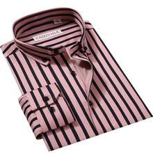 97% хлопок, дизайн, полосатые деловые повседневные мужские рубашки с длинным рукавом, Весенняя мода, на пуговицах, брендовые официальные мужские рубашки