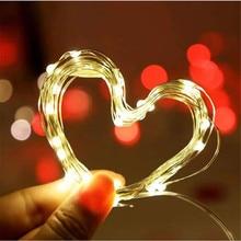 1 \ 2 \ 5 \ 10 м светодиодный светильник с медной проволокой на батарейках, Рождественский, Свадебный, вечерний, декоративный светодиодный светильник, сказочный светильник s