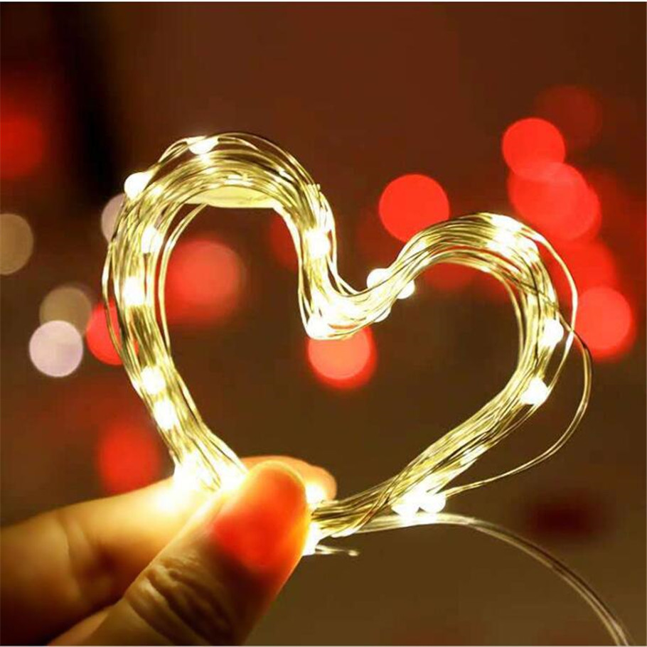 1\2\5\ 10M  Copper Wire Led Strings Light  Battery Operated Christmas Wedding Party Decoration LED String Fairy Lights