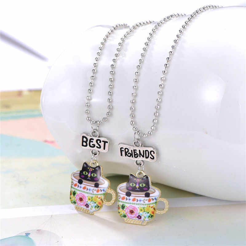 New Kids Slippers Glasses Crown Spoon Accessories Long Necklace Enamel Jewelry Cat Tea Cup Necklace Pendant Best Friend Necklace