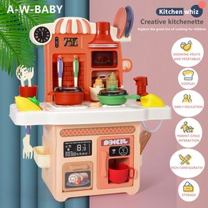 27Pcs Kids Pretend Play Cooking Table Set Spray Water Dinnerware Simulation Kitchen Toys With Sounds & Lights for Girls and Boys
