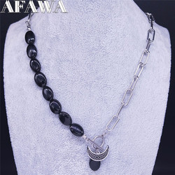 2021 Moon Irish Knot Stainless Steel Black Natural Stone Charm Necklace Women/Men Silver Color Jewelry collier homme N3743S02