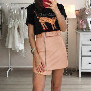 Image 2 - Cuero Pu mujeres falda inferior cintura alta cinturón elegante Falda corta de mujer elegante cremallera Fiesta club wear señoras falda