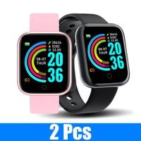 2 unids/lote Y68 pulsera inteligente rastreador de ejercicios inteligente bandas presión Smartwatch con Monitor de ritmo cardíaco inalámbrico Smartbands