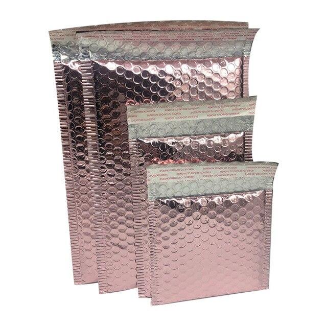 10pcs Rose Gold Foil Plastic Padded Bubble Envelopes Bags Mailers Envelope Bubble Mailing Bag Business Wedding Gift Supplies