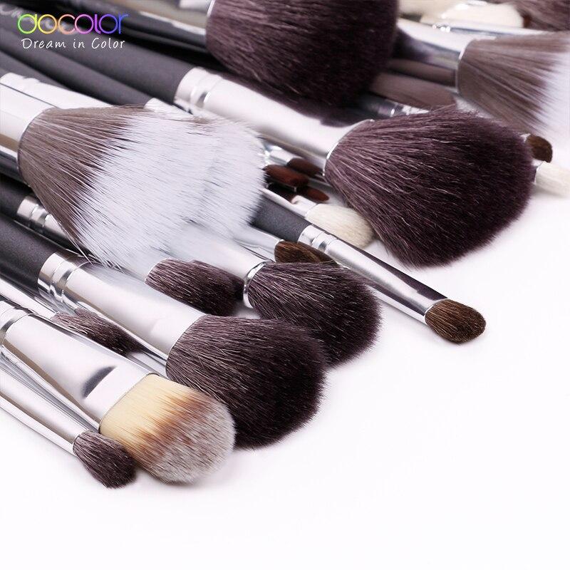 Docolor 29 шт. набор кистей для макияжа Профессиональные кисти для макияжа Набор высокого качества набор для макияжа с чехлом натуральная щетина кисти для макияжа - 4