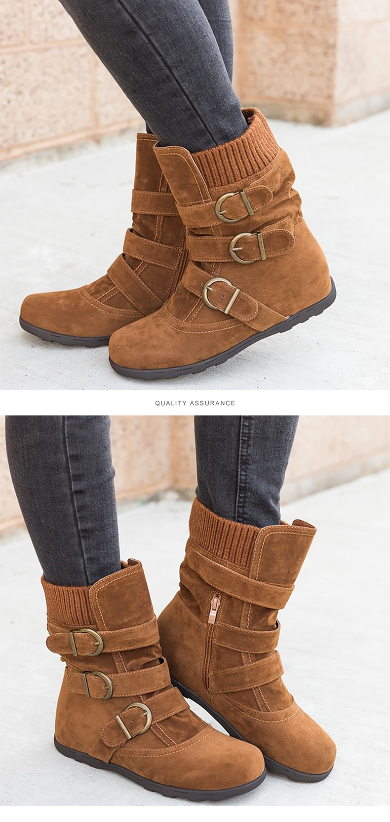 Woman boots Plus Size 43 winter boots woman 2019 Boots Rubber Non slip Snow boots Belt buckle Ankle boots for women 24