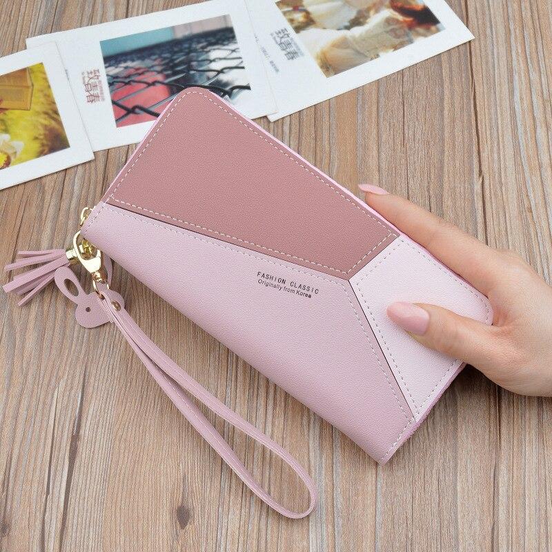Геометрические женские кошельки на молнии, розовый карман для телефона, кошелек, держатель для карт, пэчворк, Женский Длинный кошелек, Дамский короткий кошелек с кисточками - Цвет: Long-Pink