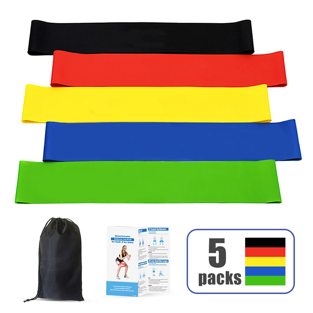 5pc Workout Bands Fitness Equipment Exercise Resistance Loop Bands Set Of With Carry Bag For Legs Butt Arms Yoga Fitness Pilates