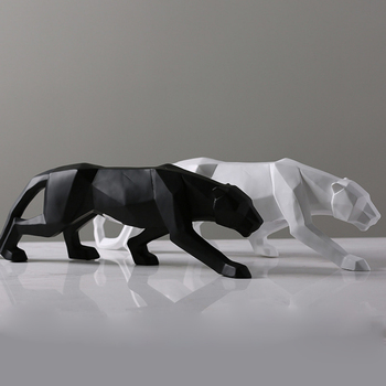 Luxurious Panther Sculpture Animal Figurine Abstract Geometric Resin Leopard Statue Ornaments Home Office Decoration Crafts Gift