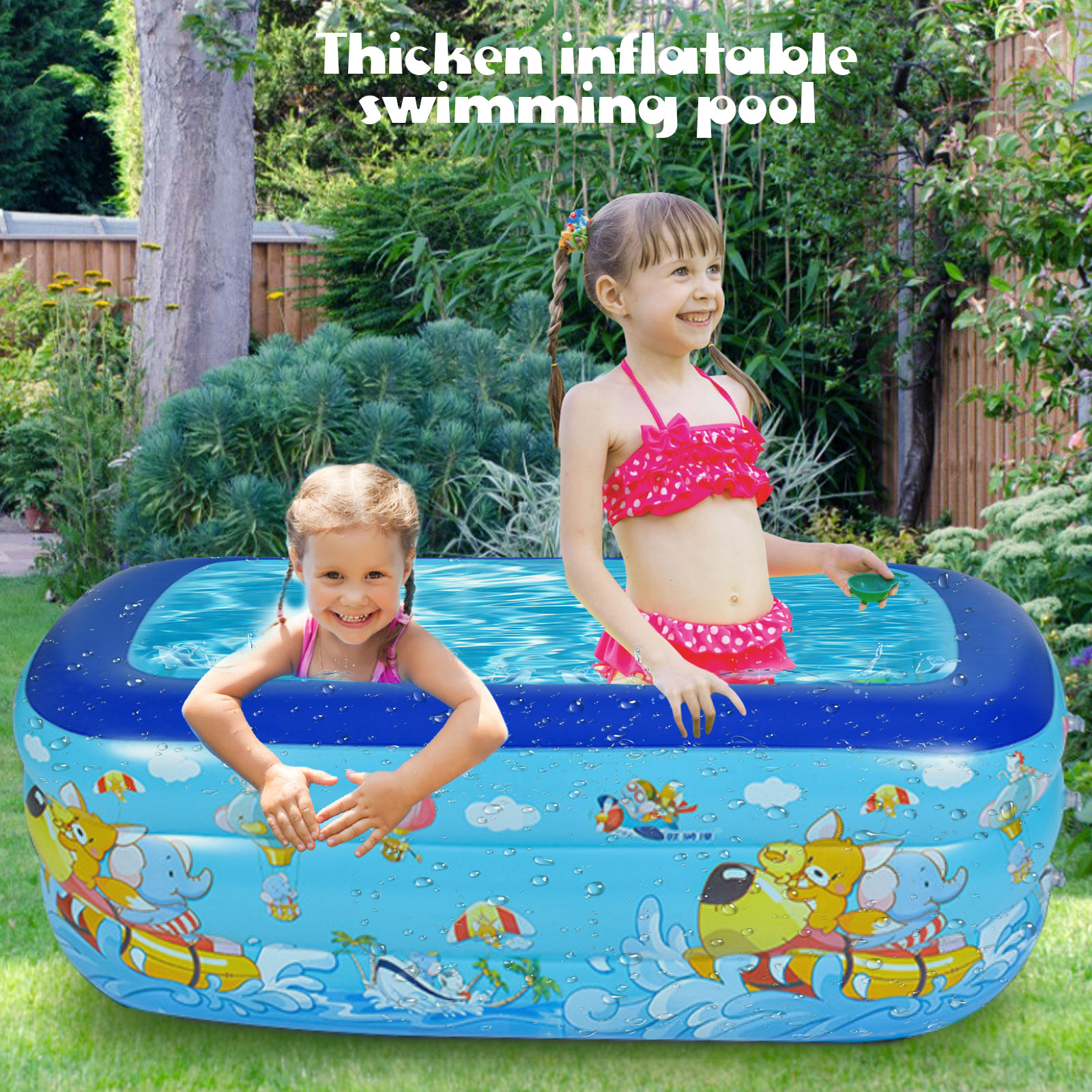 Thickening Inflatable Swimming Pool Family Summer Outdoor Backyard Water Play Pool Bathtub for 1-3 Kids Children 51x35x22inch
