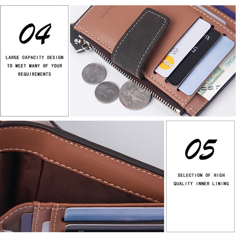 H6593a406e22f46fd8ca622ca113bd0acs - New Business men's wallet Short vertical Male Coin Purse casual multi-function card Holders bag zipper buckle triangle folding