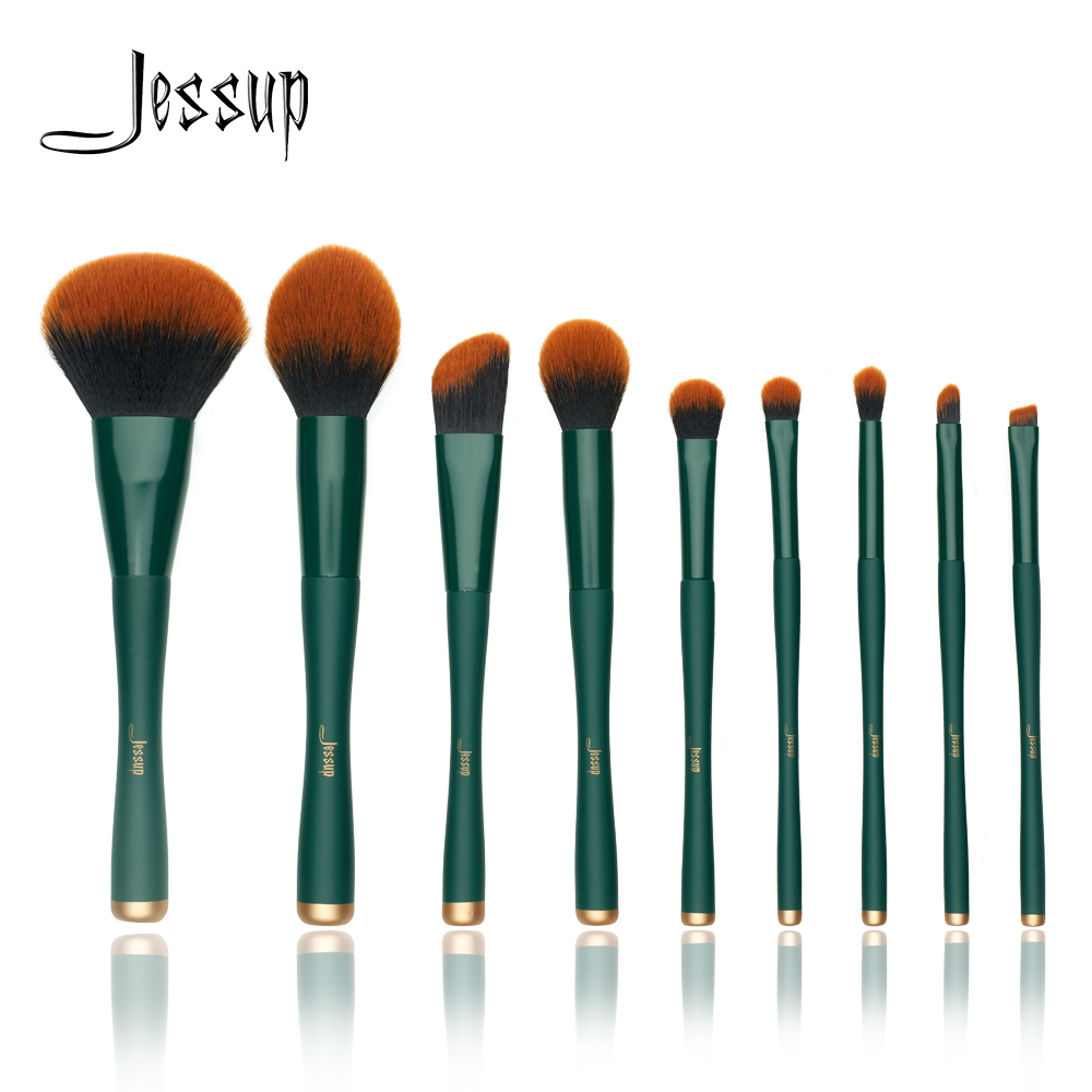 Jessup Brush Makeup Brush Trekking Green Powder Eyeshadow Concealer Foundation Make Up Brushes Rubber Coated Synthetic Hair