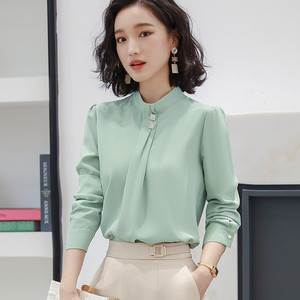 Image 2 - Naviu Soft and Comfortable Shirt Long Sleeve High Quality Blouse With Diamond Office Lady Loose Style Green Top For Women