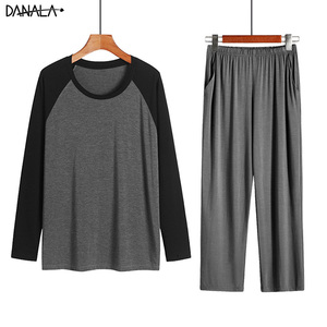 Image 2 - DANALA Men Sleepwear Sets Winter Autumn Soft Warm Modal Pajamas Long Sleeve O Neck Casual Male Pyjamas Home Clothes For Men