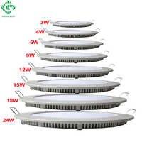 via oceano portato gruppo luci d'alluminio ultra sottile lampade da soffitto round ha 3w pannello downlight 4w 6w 9w 12w 15w 18w lampadari