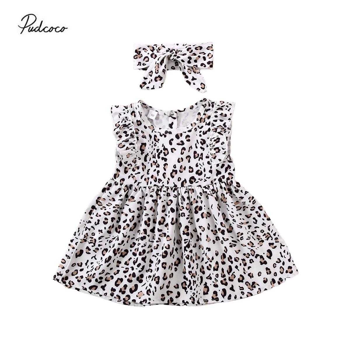Soft Cute Summer Infant Baby Kids Girls Princess Party Animal Print Dress