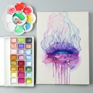 Image 5 - سيميارت 24 لون لامع مجموعة ألوان مائية أكواريلاس ذهبي معدني أكواريلا صبغ رسومات فنية ألوان مائية لوازم فنية