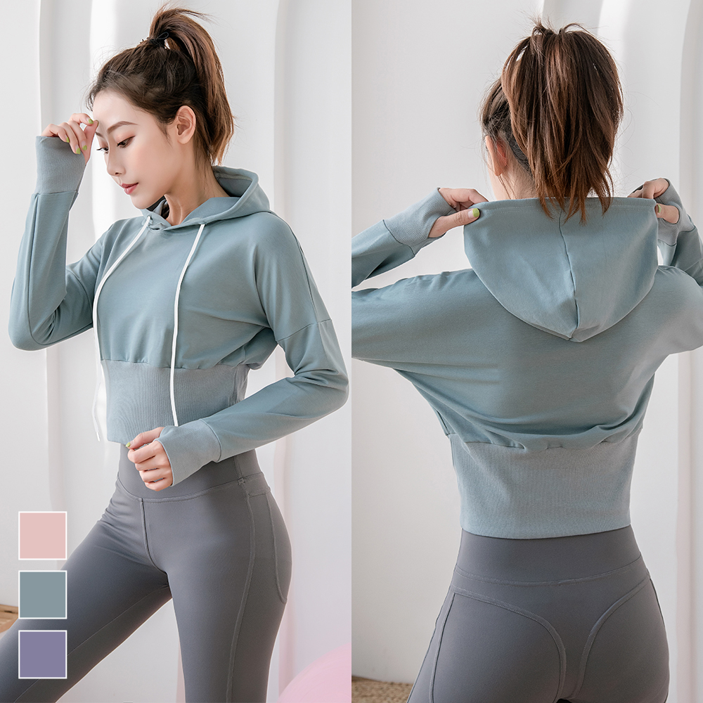 Women Hoodies Crop Top Sports Long Sleeve Solid Color Tops Casual Female Autumn Winter Pullover Sweatshirts title=