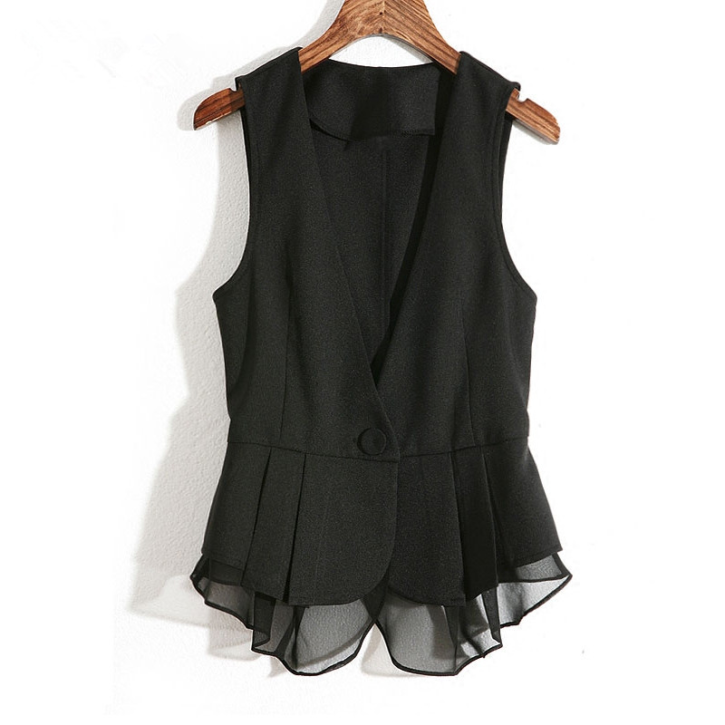 2020 Ruffles Chiffon Waistcoat Female Plus Size Short Women's Vest Spring Black Sleeveless Jacket Single Button Slim Veste Femme