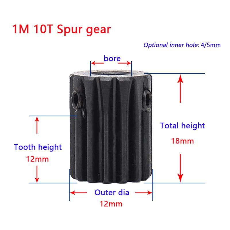 1M Spur Gear 10 12 14 Teeth 4/5 /6/6.35/7mm Bore 45# Steel Black Surface Pinion 10T-14T Metal Transmission Gear No Steps