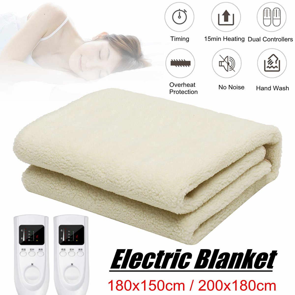 Теплое одеяло с электрическим подогревом, мягкое нижнее двухъярусное одеяло, грелка для тела, двойной контроллер цифрового таймера, электрический нагревательный матрас, термостат